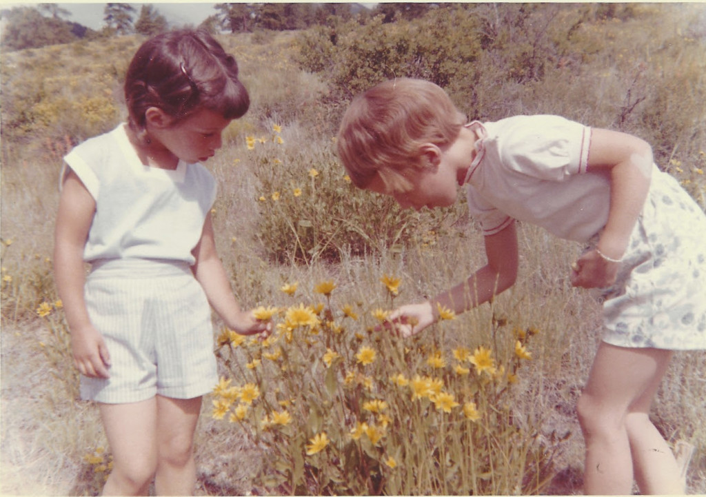 Vivienne and DIna inspect flowers in shorty shorts